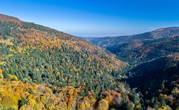 Panorama of the Vosges Mountains in autumn. Alsace, France Royalty Free Stock Images