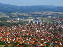 Panorama Vranja. Panorama of a small town in Serbia Stock Photo