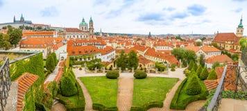 Panorama of Vrtba garden or Vrtbovska zahrada and view on old town of Prague, Czech Republic royalty free stock photo