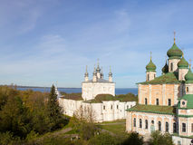 Panorama of Vsehsvytsky Church and the Uspensky Cathedral in the Goritskii monastery. Pereslavl-Zalessky. Russia. Royalty Free Stock Photo