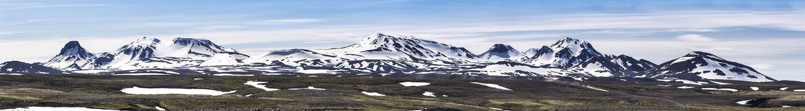 Panorama vulcanico islandese della catena montuosa Fotografie Stock Libere da Diritti