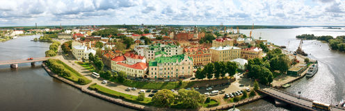 Panorama of Vyborg town with port Royalty Free Stock Photography