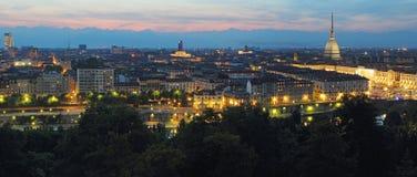 Panorama- vykort av Turin på skymning Royaltyfria Foton