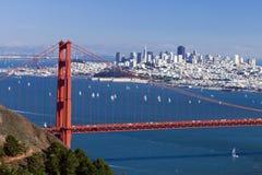 Panorama W de San Francisco le pont en porte d'or Photographie stock
