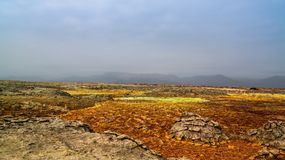 Panorama wśrodku Dallol powulkanicznego krateru w Danakil depresji, Etiopia Obrazy Royalty Free