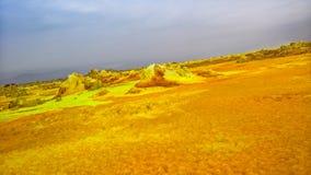 Panorama wśrodku Dallol powulkanicznego krateru w Danakil depresji Etiopia, Daleko Zdjęcia Royalty Free