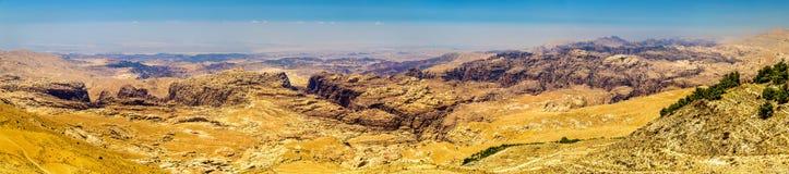 Panorama of the Wadi Musa mountains near Petra Stock Photos