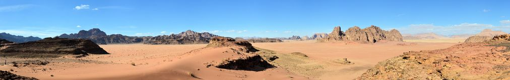 Panorama of Wadi Rum Stock Images