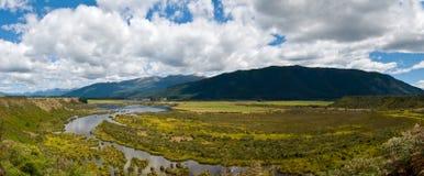 Panorama of Waiau river wetland South New Zealand royalty free stock photo