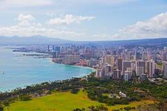 Panorama of Waikiki neighborhood in Honolulu, Hawaii, USA. Urban skyline with modern buildings and Pacific coastline Stock Image