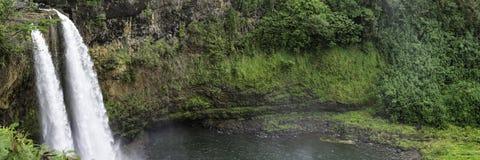 Panorama of Wailua Falls in Kauai, Hawaii Royalty Free Stock Image