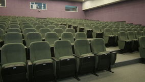 Panorama from Wall to Row Empty Chair Cinema stock video