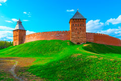 Panorama of the walls of Novgorod Kremlin Stock Photography