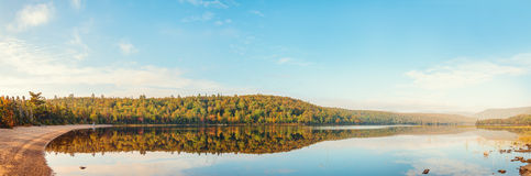 Panorama of Warren lake in the fall Stock Images