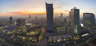 Panorama of Warsaw during autumn sundown Royalty Free Stock Photography