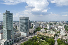 Panorama of Warsaw City Stock Photos