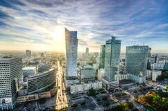 Panorama of Warsaw city center