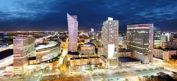 Panorama of Warsaw city center during the night, Poland.  royalty free stock photography