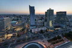 Panorama of Warsaw city center during sundown Stock Images