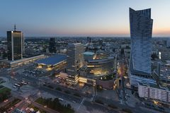 Panorama of Warsaw city center during sundown Royalty Free Stock Photography