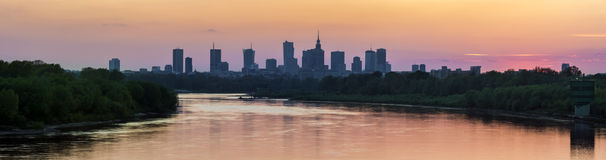 Panorama of the Warsaw city center Royalty Free Stock Image