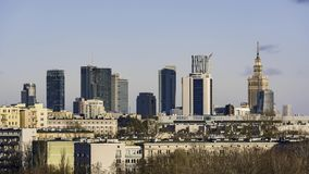Panorama of Warsaw city from the hill. Poland stock footage
