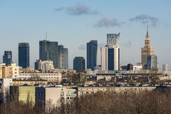 Panorama of Warsaw city from the hill Stock Photo