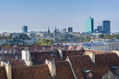 Panorama of Warsaw city with modern buildings Royalty Free Stock Image