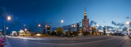 Panorama of Warsaw city at night Royalty Free Stock Images
