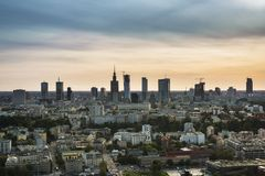 Panorama of Warsaw city, Poland Stock Photos