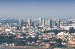 Panorama of Warsaw City. City of Warsaw in Poland aerial view,  - centrum city Royalty Free Stock Photos