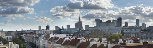 Panorama of Warsaw city, Poland. Panorama of Warsaw city dusing summer day from Old Town, Poland royalty free stock photo