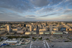 Panorama of Warsaw city during sundown Royalty Free Stock Photography