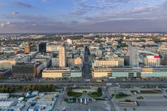 Panorama of Warsaw city during sundown. Stock Images