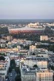 Panorama of Warsaw city during sundown Royalty Free Stock Photo