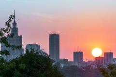 Panorama of Warsaw city during sundown Stock Photos