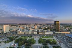 Panorama of Warsaw city during sundown Stock Photography