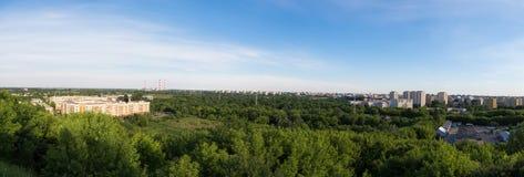 Panorama of Warsaw city. View from Kopiec Powstania Warszawskiego in Warsaw, Poland Royalty Free Stock Image
