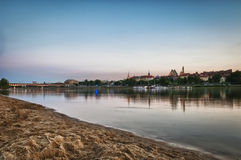 Panorama of Warsaw city with Vistula river Royalty Free Stock Photo