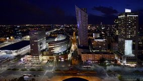 Panorama of Warsaw downtown during the night stock video footage