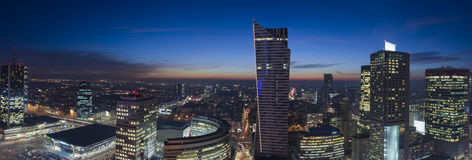 Panorama of Warsaw downtown during the night Royalty Free Stock Images