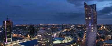 Panorama of Warsaw downtown during the night Royalty Free Stock Photography