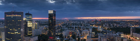 Panorama of Warsaw downtown during the night, Stock Photography