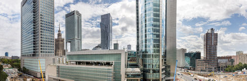 Panorama of Warsaw financial  center, Poland Stock Photography