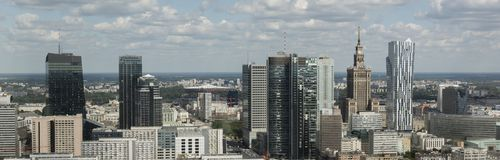 Panorama of Warsaw financial center. During sunny day, Poland, Europe Stock Photography