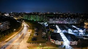 Panorama of Warsaw at night stock video