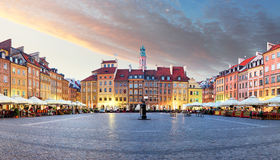 Panorama of Warsaw odl town square, Rynek Starego Miasta, Poland.  Royalty Free Stock Photography