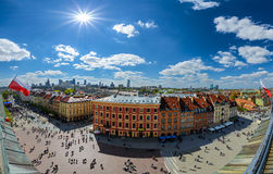 Panorama of Warsaw old and modern town. Poland Stock Photos