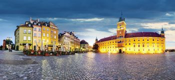 Panorama of Warsaw old town, Poland Stock Photo