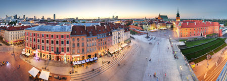 Panorama of Warsaw old town, Poland Stock Images